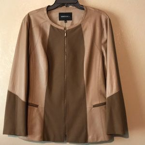 Lafayette148 NY brown/tan leather & spandex jacket